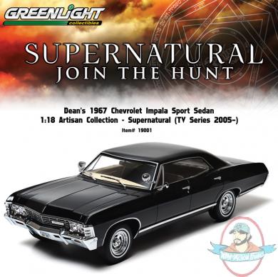 Greenlight Supernatural 1967 Chevrolet Chevy Impala 4 Doors 1:18 Black 19001
