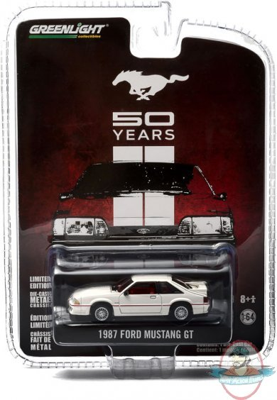 1 64 anniversary collection series 1 1987 ford mustang greenlight man of action figures. Black Bedroom Furniture Sets. Home Design Ideas