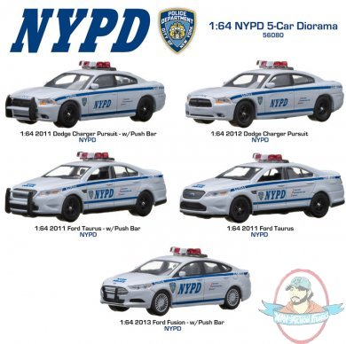 1 64 Scale Nypd 5 Car Diorama By Greenlight Man Of