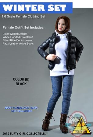 1 6 Scale Color B Black Clothing Winter Female Set