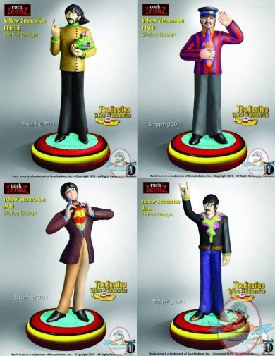 Rock Iconz Beatles Yellow Submarine Set Of 4 Statues Man