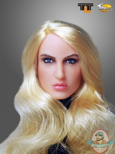 1 6 Scale Action Figure Female Head With Long Curly Blonde