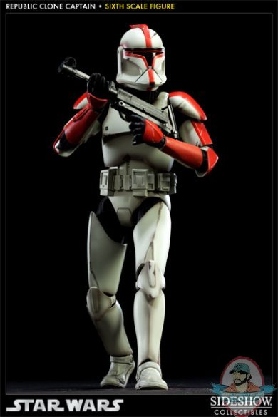 Star Wars Republic Clone Captain Red Figure By Sideshow