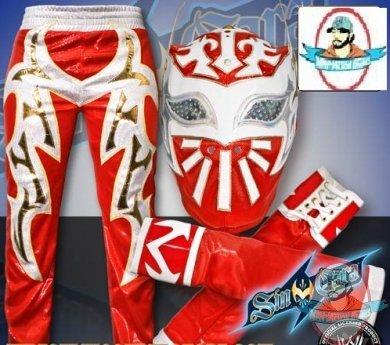 WWE Red Sin Cara Combo Deal Replica Mask Pants u0026 Armbands & WWE Red Sin Cara Combo Deal: Replica Mask Pants u0026 Armbands   Man of ...