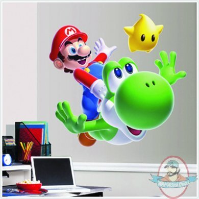Super mario bros mario yoshi giant wall decals by roommates man of action figures - Super mario giant wall decals ...